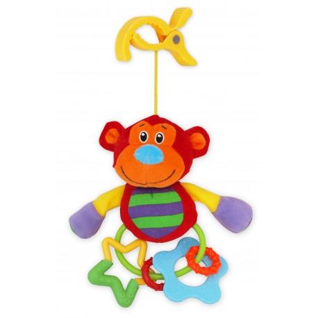 Grzechotka pluszowa z klipsem - Małpka