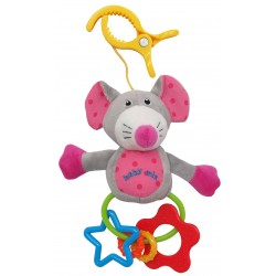Plush rattle with a clip