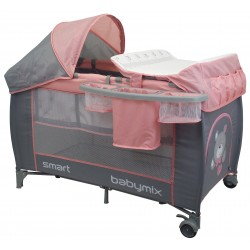 Double layer portable travel cot with changing unit